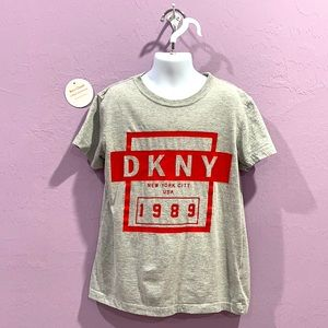DKNY Casual Tee Red Gray Graphic Size 8